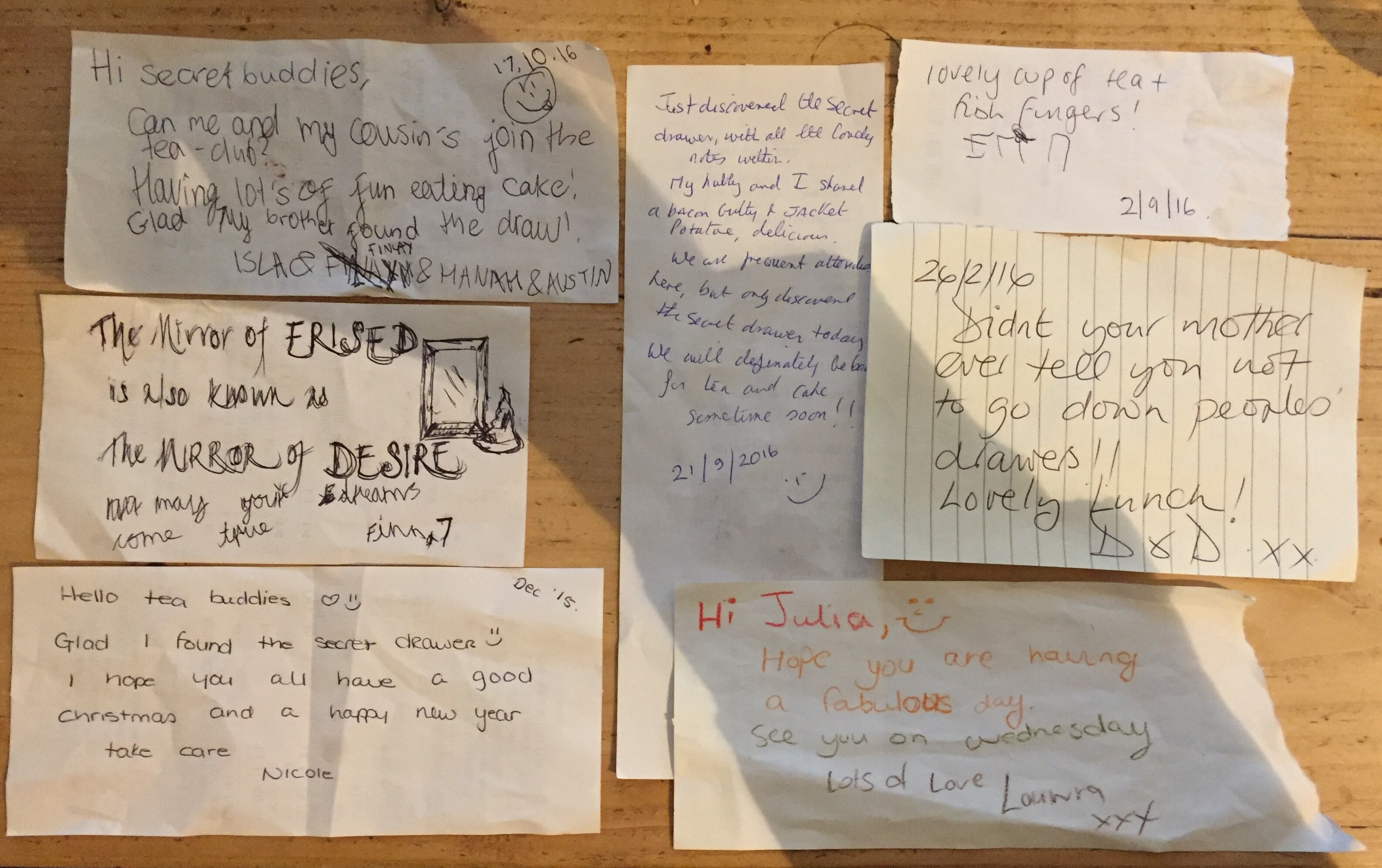 Secret letters in a secret drawer – The Shopping Lists – A Collection